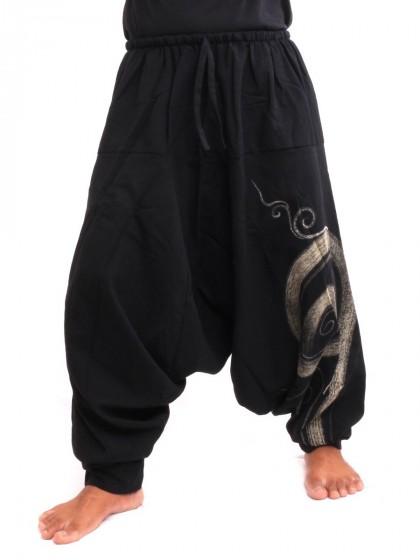 กางเกงฮาเร็ม พิมพ์ด้วยเกลียวผ้าฝ้ายสำหรับสุภาพบุรุษและสุภาพสตรี * สีดำ