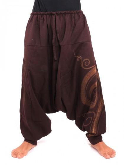 กางเกงฮาเร็ม พิมพ์ด้วยเกลียวผ้าฝ้ายสำหรับสุภาพบุรุษและสุภาพสตรี * สีน้ำตาลเข้ม