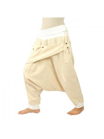 กางเกงอลาดินสีพื้น3/5 คาดกระเป๋าหน้า  * สีเหลืองไพล ขอบสีตาล