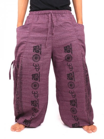 กางเกงฮาเร็ม ลายโอม  สีมังคุด