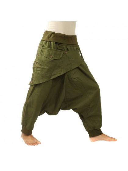 กางเกงอลาดินสีพื้น3/5 คาดกระเป๋าหน้า  * สีเขียวขี้ม้า
