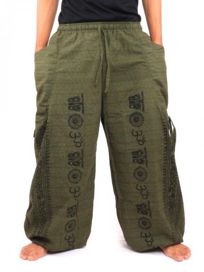 กางเกงฮาเร็ม ลายโอม * สีเขียวขี้ม้า