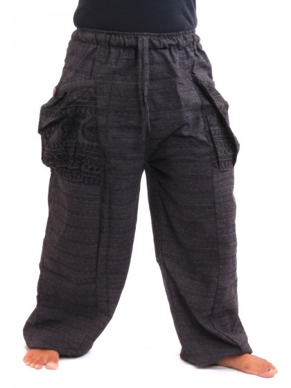 กางเกงฮาเร็ม กระเป๋าลายโอม * สีดำ