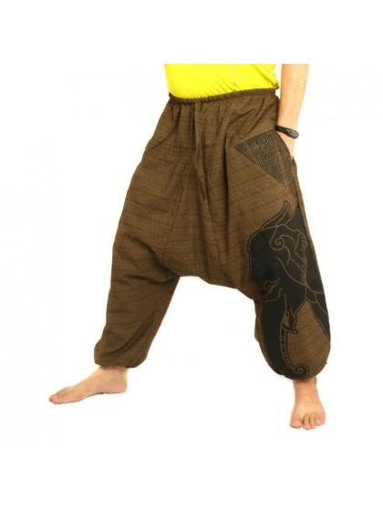 กางเกงฮาเร็ม พิมพ์ลายช้าง ผ้าฝ้ายผสมสำหรับสุภาพบุรุษและสุภาพสตรี * สีน้ำตาล