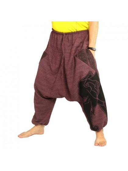 กางเกงฮาเร็ม พิมพ์ลายช้าง ผ้าฝ้ายผสมสำหรับสุภาพบุรุษและสุภาพสตรี * สีมังคุด