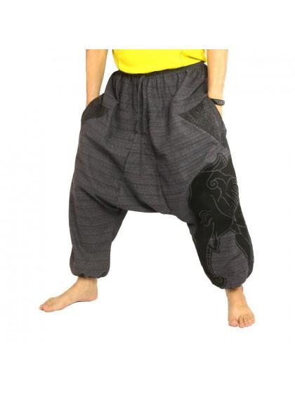 กางเกงฮาเร็ม พิมพ์ลายช้าง ผ้าฝ้ายผสม สำหรับสุภาพบุรุษและสุภาพสตรี * สีน้ำเงิน