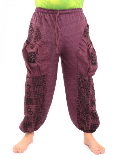 กางเกงฮาเร็ม ลายโอม * สีมังคุด