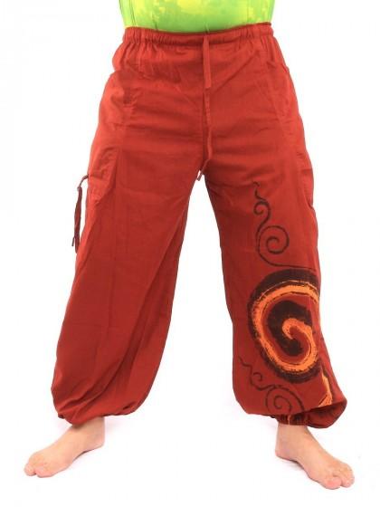 กางเกงฮาเร็ม พิมพ์ลายเกลียว* สีส้ม