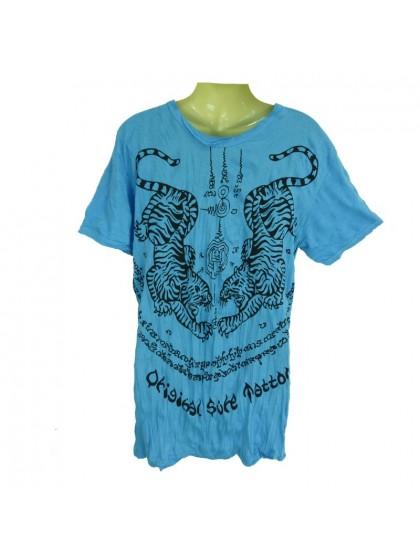 เสื้อยืดลายเสือ*สีฟ้า Size L