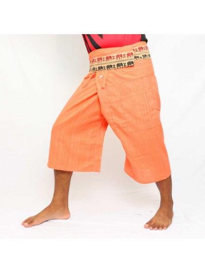 กางเกงเลขาสั้น ขอบลายช้าง*สีส้ม