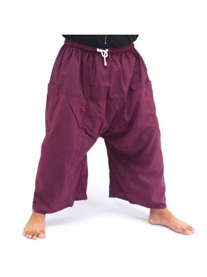 กางเกงเล เอวยางมีเชือกผูก*สีมังคุด