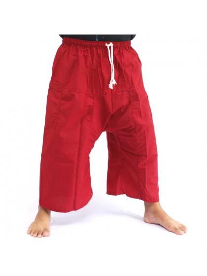 กางเกงเล เอวยางมีเชือกผูก*สีเลือดหมู