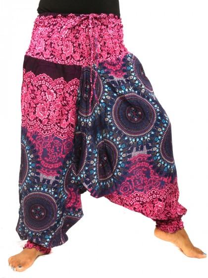 กางเกงอลาดิน * ม้งสม็อคลายดอก* สีตามแบบ