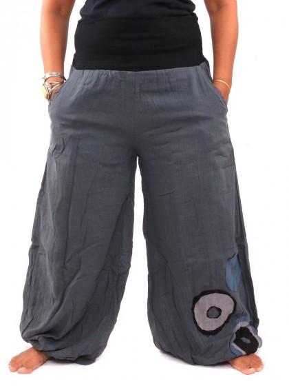 กางเกงฮาเร็ม ลายโดนัทช่วงปลายเท้า * สีเทาเข้มขอบสีดำ