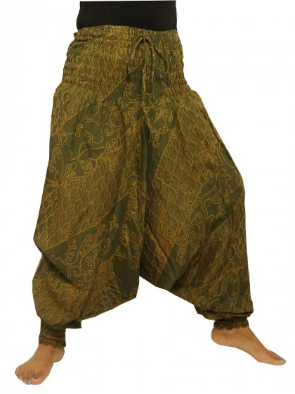กางเกงอลาดิน*ม้งสม็อคลาย*สีเขียว