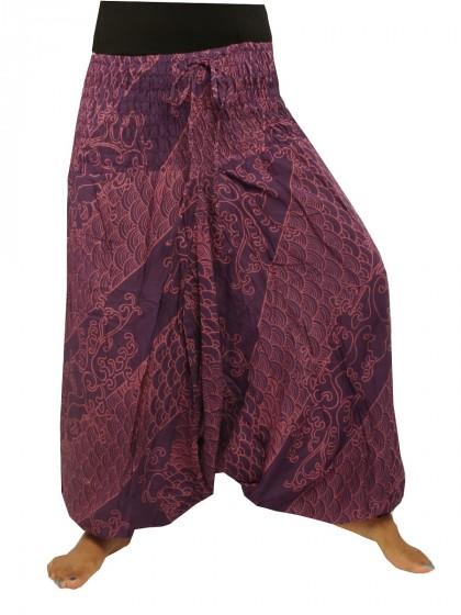 กางเกงอลาดิน*ม้งสม็อคลาย*สีมังคุด