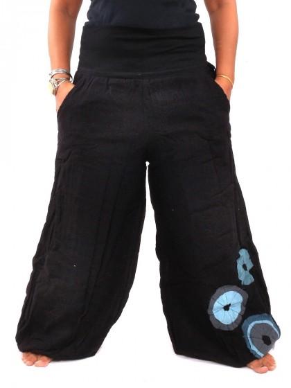 กางเกงฮาเร็ม ลายโดนัทช่วงปลายเท้า * สีดำ