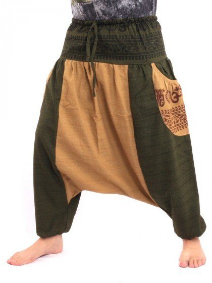 กางเกงอลาดิน ลายโอม * สีโอวัลติน  สีเขียวขี้ม้า