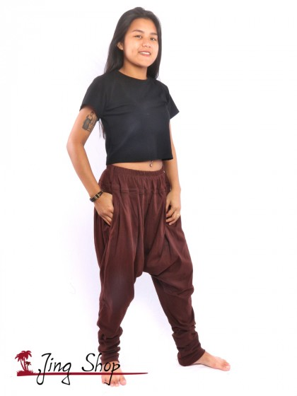 กางเกงฮาเร็ม กางเกงฮิปปี้ กางเกงผ้านิ่ม  สีน้ำตาล