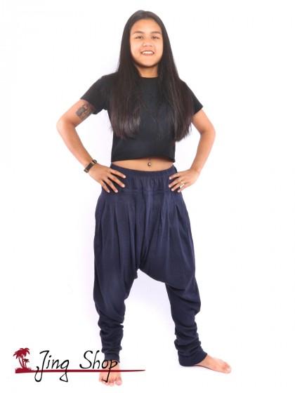 กางเกงฮาเร็ม กางเกงฮิปปี้ กางเกงผ้านิ่ม  สีน้ำเงิน