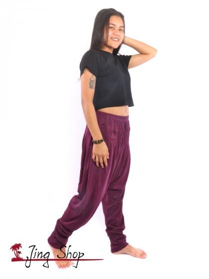 กางเกงฮาเร็ม กางเกงฮิปปี้ กางเกงผ้านิ่ม  สีมังคุด