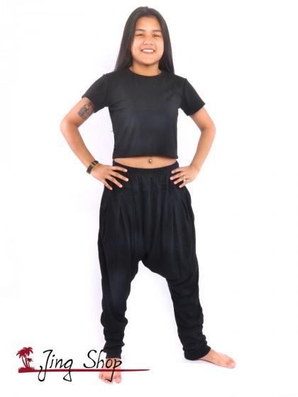 กางเกงฮาเร็ม กางเกงฮิปปี้ กางเกงผ้านิ่ม  สีดำ