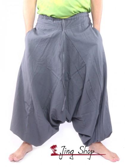 กางเกงฮาเร็ม กางเกงเป้ายาน กางเกงอลาดิน สีเทา