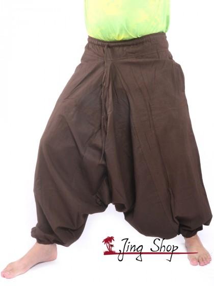 กางเกงฮาเร็ม กางเกงเป้ายาน กางเกงอลาดิน สีน้ำตาล