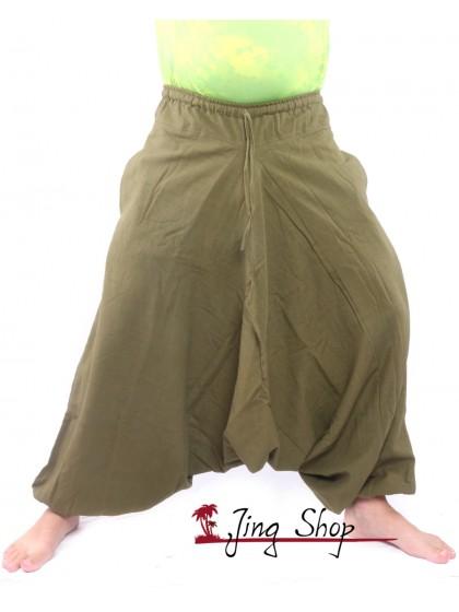 กางเกงฮาเร็ม กางเกงเป้ายาน กางเกงอลาดิน สีเขียวขี้ม้า