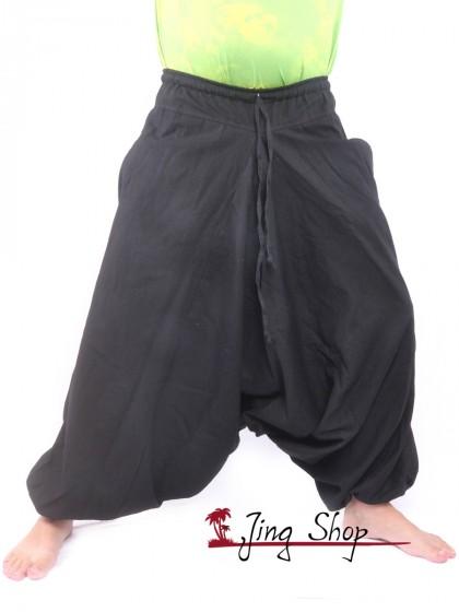 กางเกงฮาเร็ม กางเกงเป้ายาน กางเกงอลาดิน สีดำ