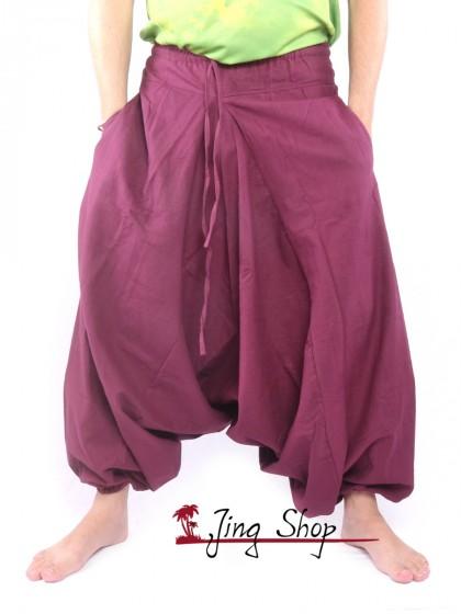 กางเกงฮาเร็ม กางเกงเป้ายาน กางเกงอลาดิน สีเลือดหมู