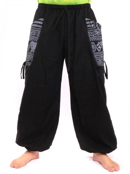 กางเกงฮาเร็ม พิมพ์โอม ผ้าเมือง * สีดำ