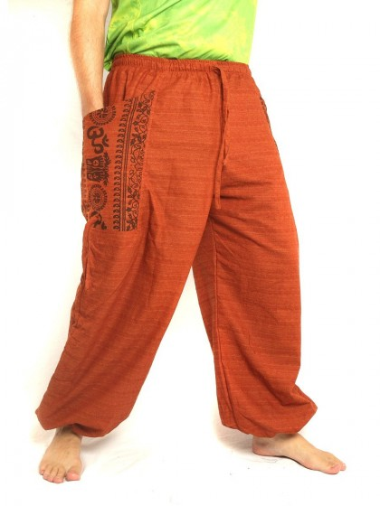 กางเกงฮาเร็ม พิมพ์โอม * สีส้ม