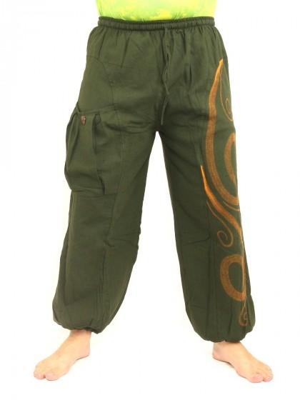กางเกงฮาเร็ม พิมพ์ลายเกลียว* สีเขียวขี้ม้า