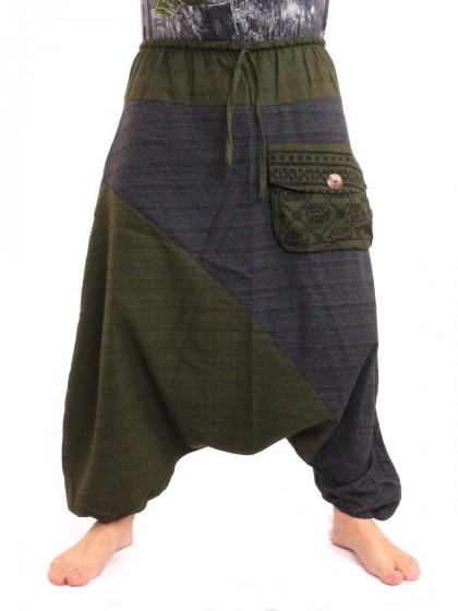 กางเกงฮาเร็ม ลายช้างมีกระเป๋าข้าง * สีเขียวขี้ม้า  สีน้ำเงิน