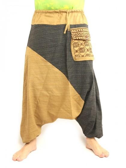 กางเกงฮาเร็ม ลายช้างมีกระเป๋าข้าง * สีกากีอมขี้ม้า  สีดำ