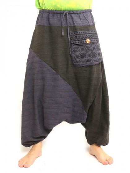 กางเกงฮาเร็ม ลายช้างมีกระเป๋าข้าง * สีน้ำเงิน  สีดำ