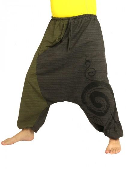 กางเกงฮาเร็ม พิมพ์ด้วยเกลียวผ้าฝ้ายสำหรับสุภาพบุรุษและสุภาพสตรี * สีกรม