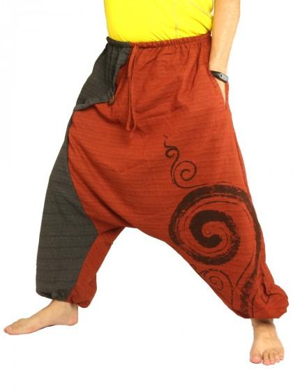 กางเกงฮาเร็ม พิมพ์ด้วยเกลียวผ้าฝ้ายสำหรับสุภาพบุรุษและสุภาพสตรี * สีเขียว สีดำ