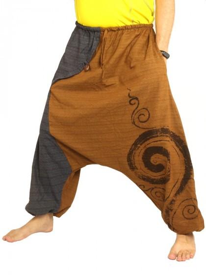 กางเกงฮาเร็ม พิมพ์ด้วยเกลียวผ้าฝ้ายสำหรับสุภาพบุรุษและสุภาพสตรี * สีส้ม สีดำ