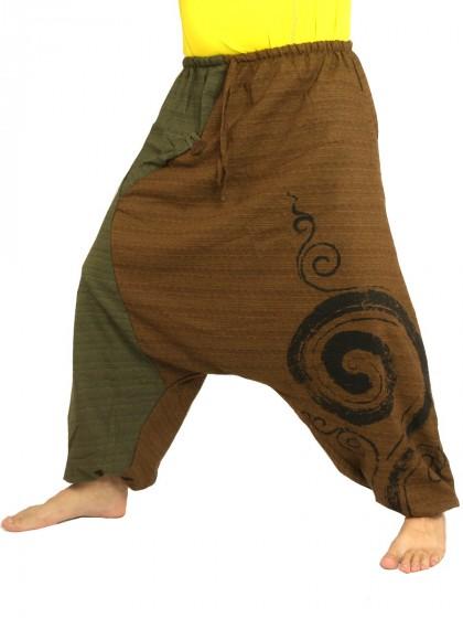 กางเกงฮาเร็ม พิมพ์ด้วยเกลียวผ้าฝ้ายสำหรับสุภาพบุรุษและสุภาพสตรี * สีน้ำเงิน สีดำ